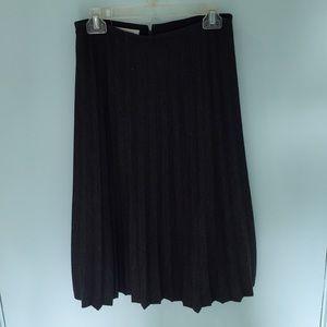 charcoal gray pleated midi skirt